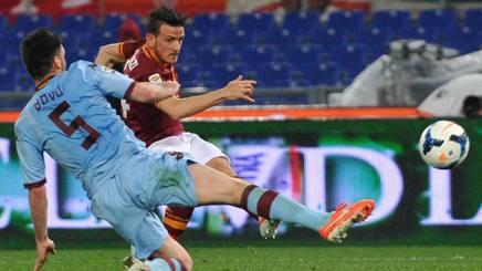 Il sinistro di Florenzi che ha deciso Roma-Torino al 91'. Ansa
