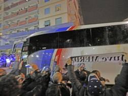 Il bus della Juve. Ansa
