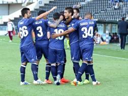 La gioia dei giocatori dell'Udinese. Ansa