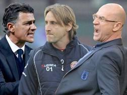 Gli allenatori di Catania, Livorno e Bologna: da sinistra Pellegrino, Nicola e Ballardini. Ansa