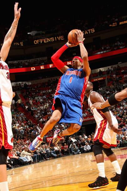 Con i Detroit Pistons contro Miami Heat, 2009 (Nba/Getty Images)
