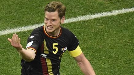 L'esultanza di Vertonghen dopo il gol partita. Afp