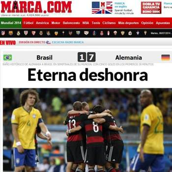 Eco in tutto il mondo per il 7-1 tedesco sui padroni di casa del Brasile: