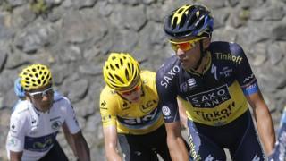 Nairo Quintana, Chris Froome e Alberto Contador al Tour del 2013. LaPresse