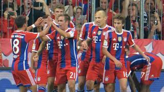 La festa dei giocatori del Bayern . Lapresse