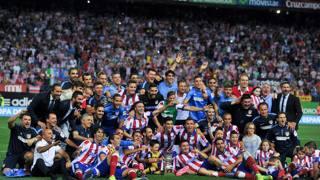 L'Atletico Madrid festeggia la vittoria della Supercoppa di Spagna. AFP