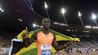 Kemar Bailey-Cole festeggia la vittoria nei 100 al Weltklasse. Epa