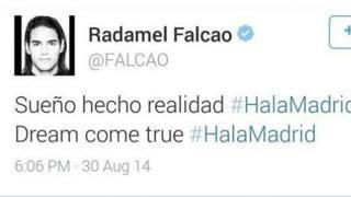 Il tweet di Falcao, subito dopo cancellato
