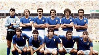 La formazione che ha vinto il Mondiale in Spagna nel 1982. Ap