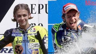 Valentino Rossi nel 1996 a Brno e nel 2014 a Misano