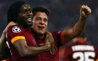 Gervinho festeggia con Iturbe la goleada al Cska. Reuters
