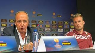 Giampiero Ventura in conferenza stampa con Jean Francois Gillet. Afp