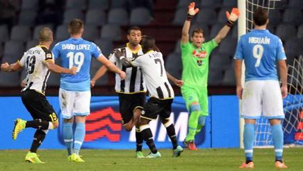 Danilo esulta dopo il gol al Napoli. LaPresse