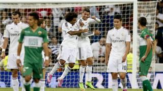 Cristiano Ronaldo festeggia con Marcelo il gol del 2-1. LaPresse