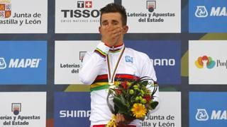 Michal Kwiatkowski, 24 anni, sul podio di Ponferrada. Bettini