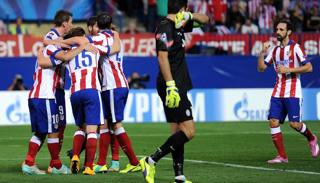 L'esultanza dei giocatori dell'Atletico Madrid. Getty