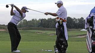 Tiger Woods e Steve Williams in campo pratica