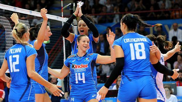 Le azzurre celebrano il successo sulla Cina: primo posto e testa di serie. GetSportMedia