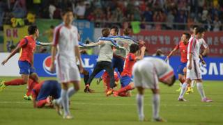 I sudcoreani esultano dopo il gol della vittoria.