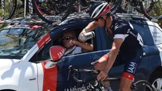 Sebastien Hinault alla Vuelta 2014 che ha terminato al 106esimo posto nella generale. Bettini