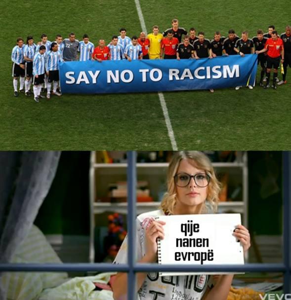 Il cartello è emblematico è il riferimento alla presunta incoerenza dell'Uefa è tutt'altro che velato: dal say no to racism al questa è l'europa. Social