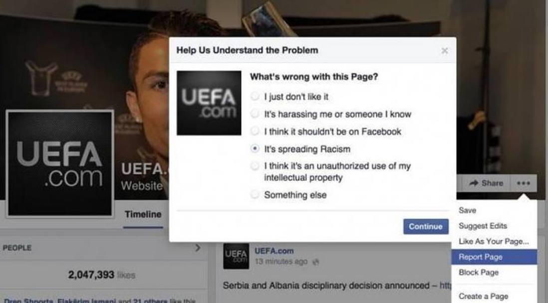 O chi ha segnalato direttamente la pagina della Uefa. Social