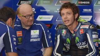 Valentino Rossi con Silvano Galbusera. Afp