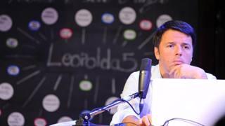 Il presidente del Consiglio dei Ministri Matteo Renzi alla Leopolda a Firenze. Ansa