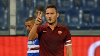 Francesco Totti, 38 anni, capitano della Roma. LaPresse