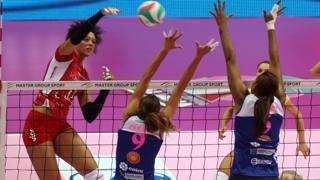 Valentina Diouf in azione nella Supercoppa poi vinta da Piacenza. Rubin