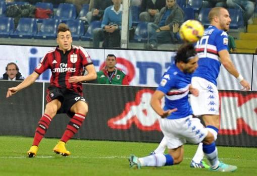 Stephan accompagna con lo sguardo il suo destro in rete: tiro imparabile per Romero. Marassi ammutolisce. Ansa