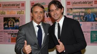 Mancini e Inzaghi durante il Gazzetta Day. Bozzani