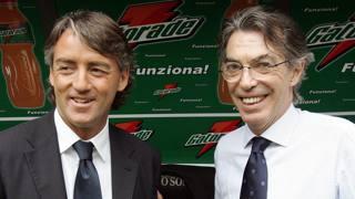 Roberto Mancini e Massimo Moratti ai tempi del primo periodo nerazzurro del tecnico. Ansa