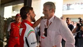 Fernando Alonso con Maurizio Arrivabene, nuovo Team Principal della Ferrari. Colombo