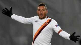 Francesco Totti, 38 anni, seconda rete in questa Champions. Afp