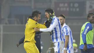 L'esultanza di Melchiorri dopo la rete allo scadere che ha salvato il Pescara. LaPresse