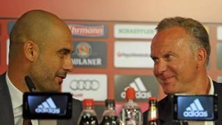 Pep Guardiola e Karl-Heinz Rummenigge.