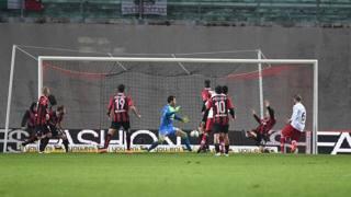 Il gol del pareggio di Gagliolo. LaPresse