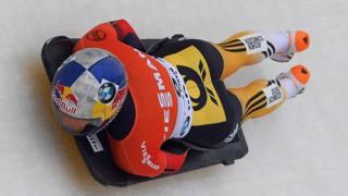 La tedesca Anja Huber Selbach in una gara di Coppa del Mondo di skeleton. Epa