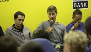 Alberto Contador, Peter Sagan e Rafal Majka alla conferenza stampa di Mosca