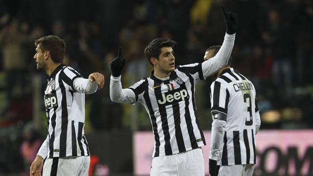 L'esultanza di Morata dopo il gol partita. Getty
