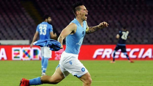 La gioia di Marek Hamsik dopo il gol. Ap