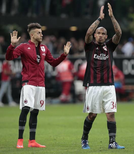 Milan torino 3 0 2 gol di el shaarawy pazzini lapresse ansa il saluto finale di el shaarawy e de jong voltagebd Choice Image