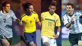 Cavani, Falcao, Neymar e Messi