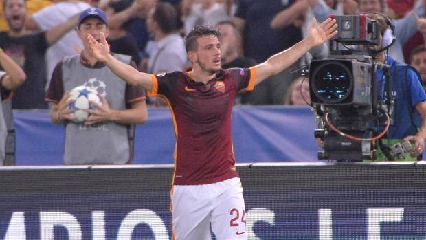 Alessandro Florenzi, 24 anni, esulta dopo il gol al Barcellona. Ansa