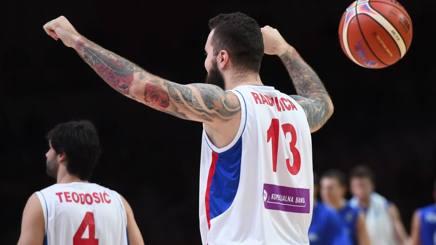 Miroslav Raduljica esulta per la semifinale conquistata. Afp