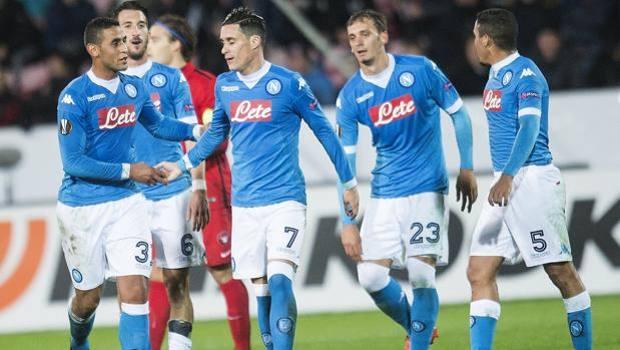 L'esultanza dei giocatori del Napoli. Afp