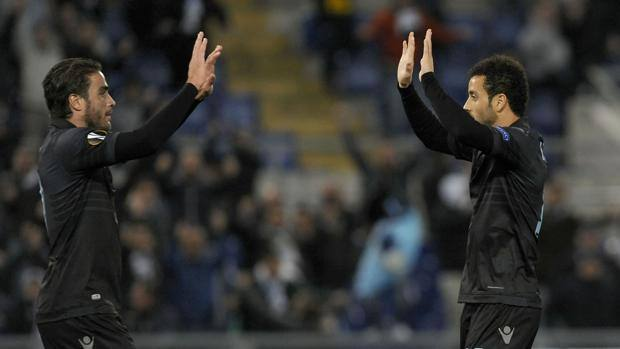 L'esultanza di Alessandro Matri e Felipe Anderson, autori dei primi due gol. LaPresse
