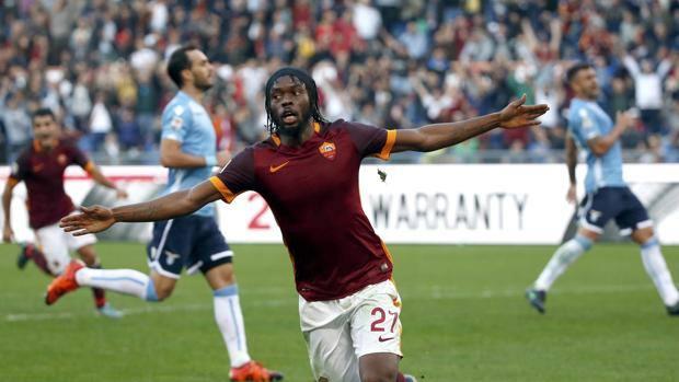 L'esultanza di Gervinho, autore del 2-0 sulla Lazio. Reuters