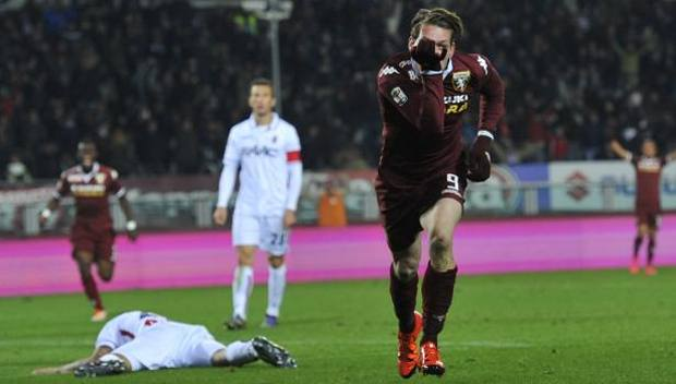 Andrea Belotti, 21 anni, esulta per il primo gol stagionale. LaPresse